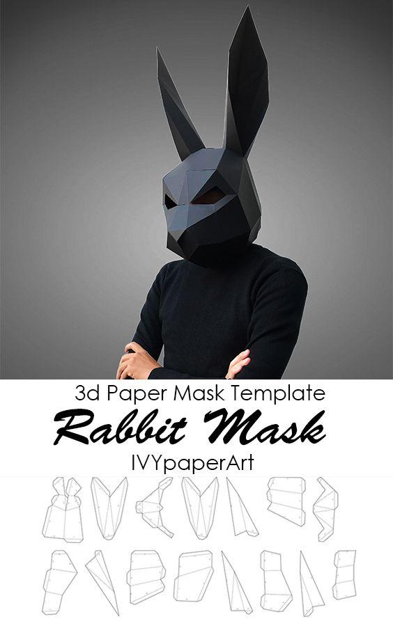 Rabbit Mask Template Paper Mask Papercraft Mask Low Poly Mask 3d Paper Mask Template Paper Mask Diy Paper Mask Template Paper Mask