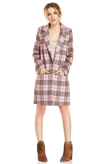 Glamorous Plaid Checked Longline Coat in Pink | Inspired by Mindy
