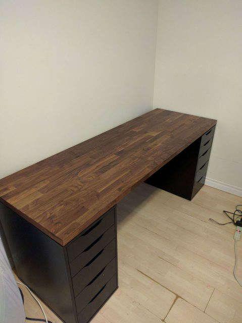 Karlby Arbeitsplatte Walnuss Home Office Setup Computer Setup Diy Computer Desk