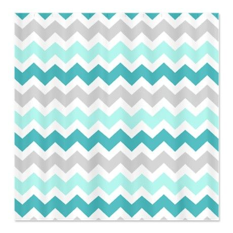 Blue Grey Chevron Pattern Shower Curtain | Beach houses, Colors ...
