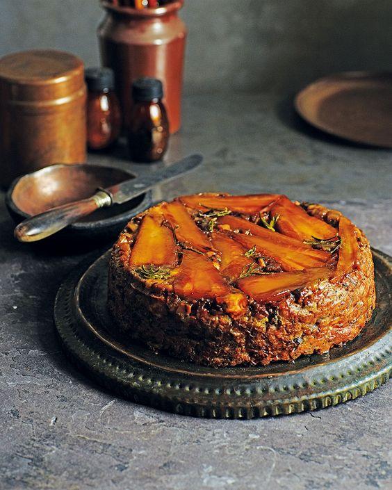 Maple-glazed parsnip, chestnut and feta loaf