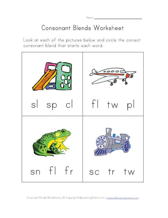 Consonant Blends Worksheet Three Learning Pinterest