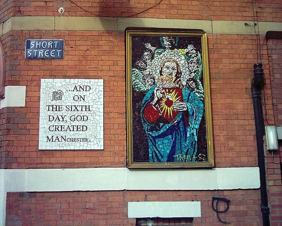 "Manchester's Afflecks Palace. The mosaic is of Jesus and the Sacred Heart, and the plaque on the wall reads ""And on the sixth day, God created man(chester). Love it!"