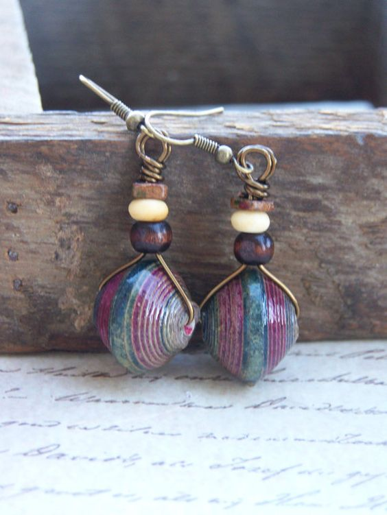 Navy & Plum Paper Bead Earrings by JustImagineJewelry on Etsy, $12.00