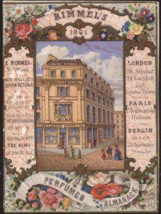 Capa do Almanaque perfumado da Rimmels, especializada em cartões com perfume