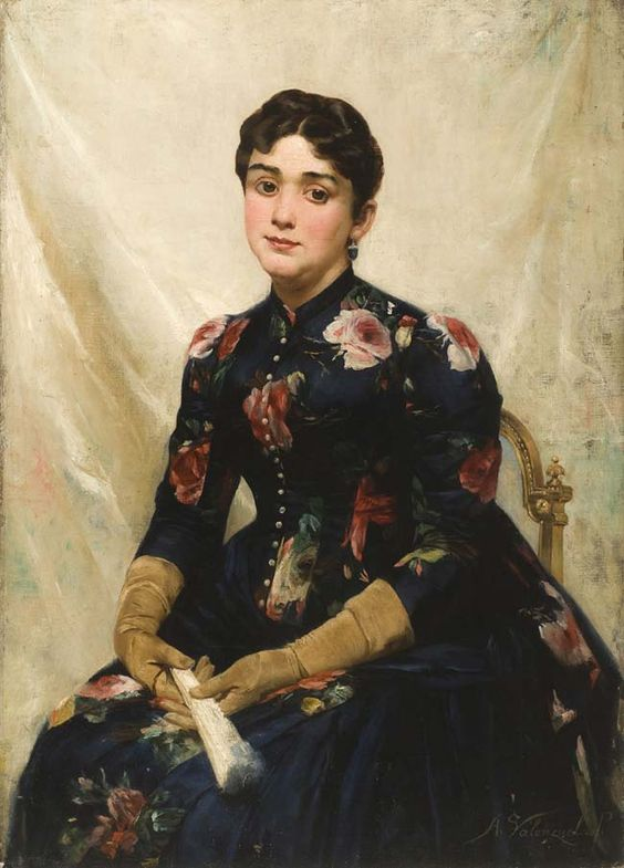 """Dama del Abanico"" (Lady with Fan) by Chilean painter Alfredo Valenzuela Puelma. Late 1880s"