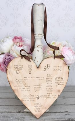 """Wedding Signs 12"""" Wood Heart with Love Quotes"""