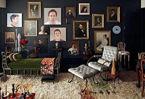 Striking and creepy. I love it.: Black Walls, Livingroom, Living Room, Dark Walls, Gallery Wall, Art Wall