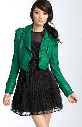 Diane von Furstenberg leather jacket in 'poison green'