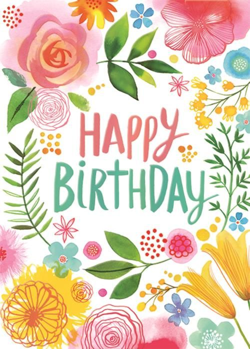 Ring Of Flowers Birthday Card Bday Her Happy Birthday Wishes Cards Happy Birthday Cards Happy Birthday Flower