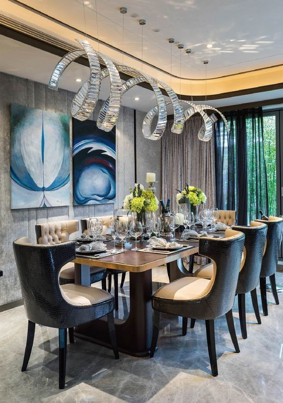 Golden Lighting Design Ideas For Modern Luxury Homes Elegant Dining Room Luxury Dining Tables Dining Room Design