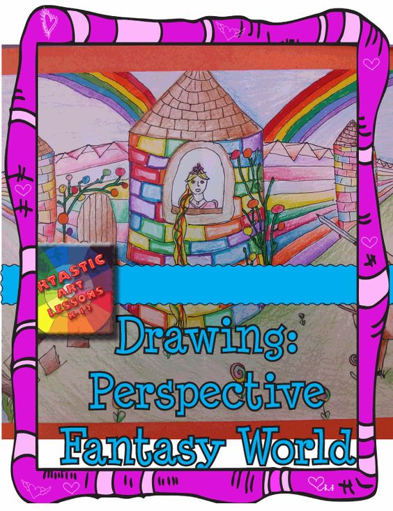 Time to Learn Perspective Drawing through creating a fantastic perspective Fantasy World. They can make any fantasy type world they would like, as long as it is in perspective! The instructive, step-by-step power point that comes with this product will have your students drawing in perspective in no time! http://www.teacherspayteachers.com/Product/Middle-School-Art-Perspective-Drawing-Fantasy-World-1008049