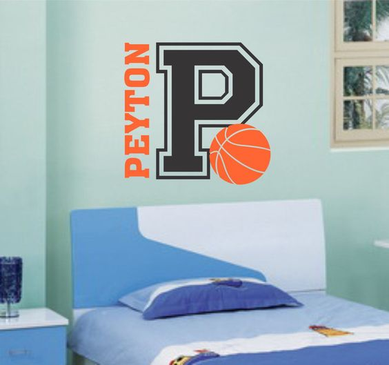 "Self-adhesive Vinyl Wall Lettering $27.50 Two color personalized Name, Initial and Ball Overall size is 27"" w x 23"" h (if installed as shown) Purchase the INITIAL as one color $15.00 Purchase the NAME"