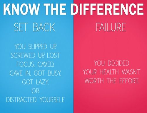 Knowing the difference between a set-back and failure -- set backs happen and they suck and I especially feel discouraged about them but it doesn't mean you've failed. Get back on track the next day!