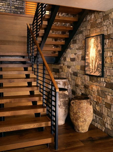 Basement Stairs Ideas: Unique Staircase And Stone Wall. #homefeatures