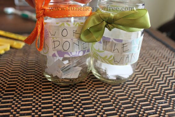 """""""Spare-Second cleaning jar"""". Keep your house deep cleaned, one chore at a time. Just grab a chore when you get a sec, and do it! Voila, deep cleaned house before you know it. Includes printable chore list."""