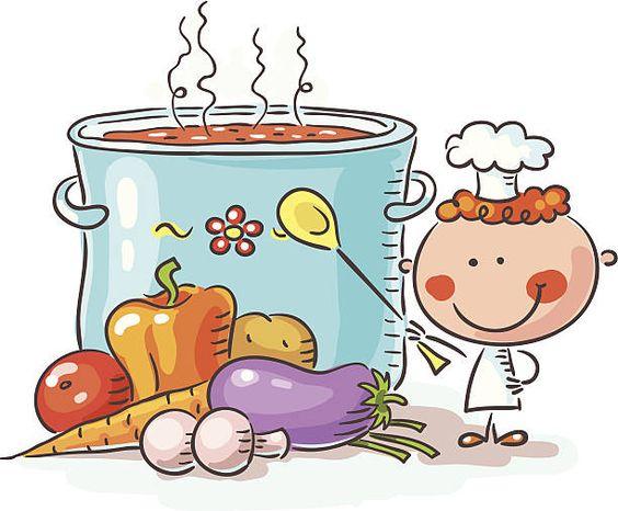 Pequeno chef com um gigantesco Panela Ferver e produtos hortícolas - ilustração de arte vetorial
