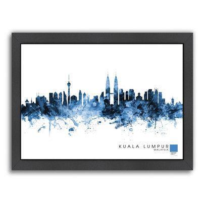 Americanflat Kuala Lumpur by Michael Tompsett Framed Graphic Art Size: