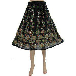 "Bohemian Gypsy Long Skirt Floral Print Black Sequin Skirt Womens Fashion Skirt 28"" (Apparel)"