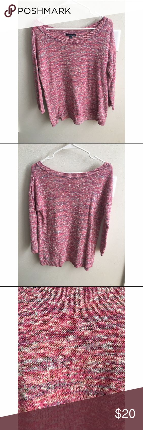 American Eagle Sweater Pink sweater with some blue white and gold in it. Still in great condition. American Eagle Outfitters Sweaters