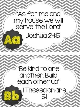 This is a fun package with a bible verse for each letter of the alphabet. It coordinates with the chalkboard theme pack as well as chevron, grey and yellow classroom themes. There are 13 pages with 26 total letter cards. For long lasting protection, print on card stock and laminate.
