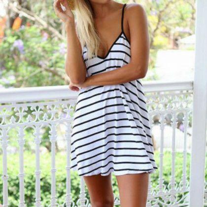 Sexy V-neck striped halter dress