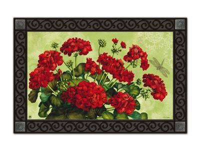 "#Geraniums MatMate.  Can be used stand-alone or as interchangeable inserts in our MatMates™ Outdoor Doormat trays or Indoor Comfort Trays™ (as shown, sold separately). Non-slip recycled rubber backing. Approx. 18"" x 30"". Weatherproof for outdoor use. #doormat"