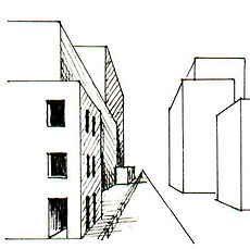 Arbeitsblatt Zeichnen Perspektive Zentralperspektive: Schluchten in der Stadt