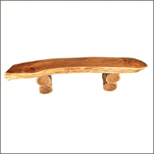 "Loft Bench Seat Natural: 69"" Appalachian Rustic Natural Wood Seat Log Cabin Garden"