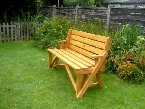 Wooden bench turns into a picnic table i love this outdoor ideas pinterest picnics the Picnic table that turns into a bench