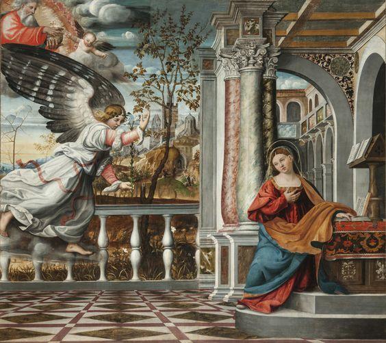 Francesco Canova da Milano  , also known as Il divino, Francesco da Parigi (1497-1543)   — The Annunciation   (1280×1138):
