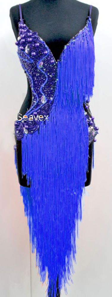 U4966 Ballroom women salsa samba Latin samba dance Fringing dress Custom made #Seavex