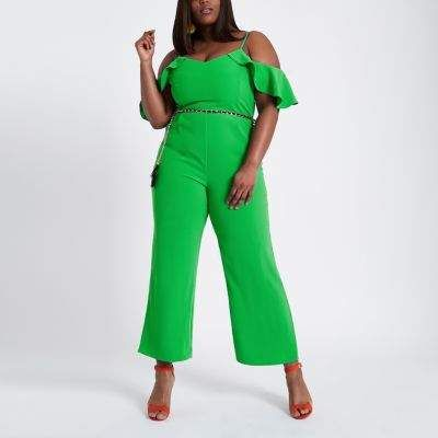 River Island Plus green frill sleeve bardot jumpsuit