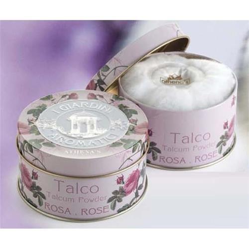 Athena's Talchiera latta con piumino 100 gr. Profumo Rosa 'Giardini Aromatici'