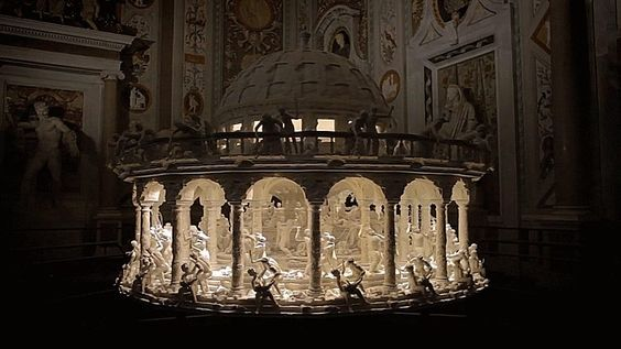 """The sculpture was inspired by Rubens' Massacre of the Innocents. Sebastian Burdon, the artist, spent over six months modeling and printing the zoetrope's more than 350 pieces. Source <a rel=""""nofollow"""" target=""""_blank"""" href=""""https://vimeo.com/125791075"""">https://vimeo.com/125791075</a>"""