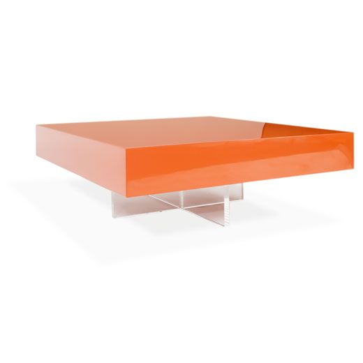 Swoon Jonathan Adler lacquer block cocktail table in ORANGE