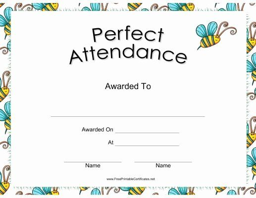 Free Printable Perfect Attendance Award Certificates Unique 17 Best Ideas About Attend Perfect Attendance Perfect Attendance Certificate Attendance Certificate