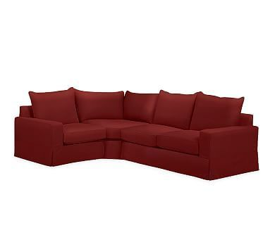 PB Comfort Square Arm Right Arm 3-Piece Wedge Sectional Slipcover, Knife Edge, Twill Sierra Red
