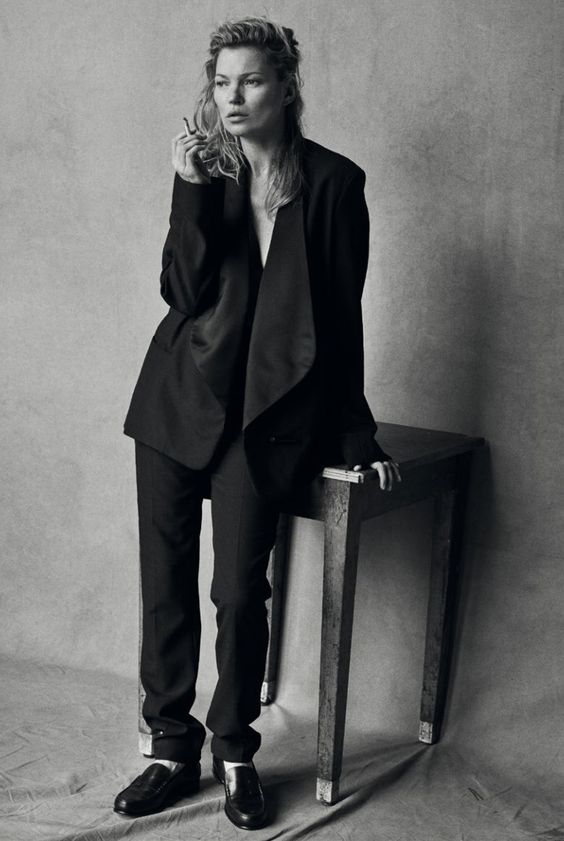 Publication: Vogue Italia January 2015 Model: Kate Moss Photographer: Peter Lindbergh Fashion Editor: Clare Richardson Hair: Odile Gilbert Make-up: Stéphane Marais