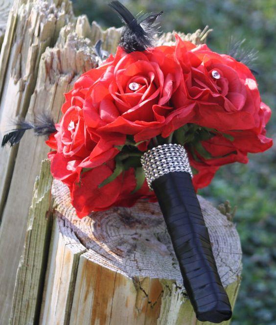 Red Bouquet Black Feathers Bridal Bouquet Wedding Bouquet Set Red Rose Bouquet Red Black
