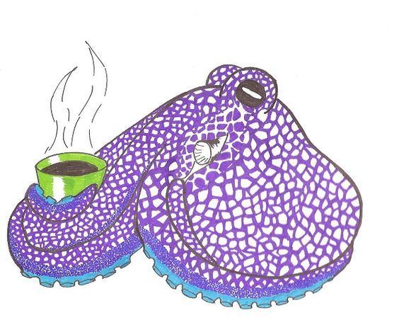 Purple Octopus having coffee. by LucyQ602