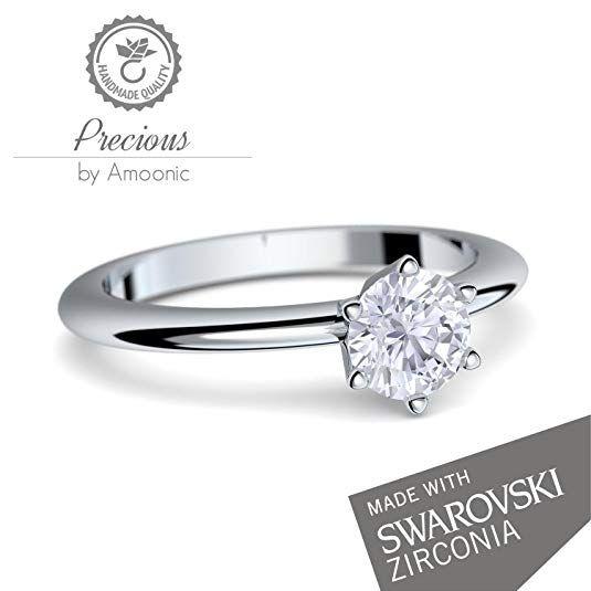 Verlobungsring Damen Silber 925 Von Amoonic Mit Swarovski Zirkonia Stein Mit Gravur Etui Box Der Zeitlos Schone Und Ring Verlobung Verlobungsring Damen Ring