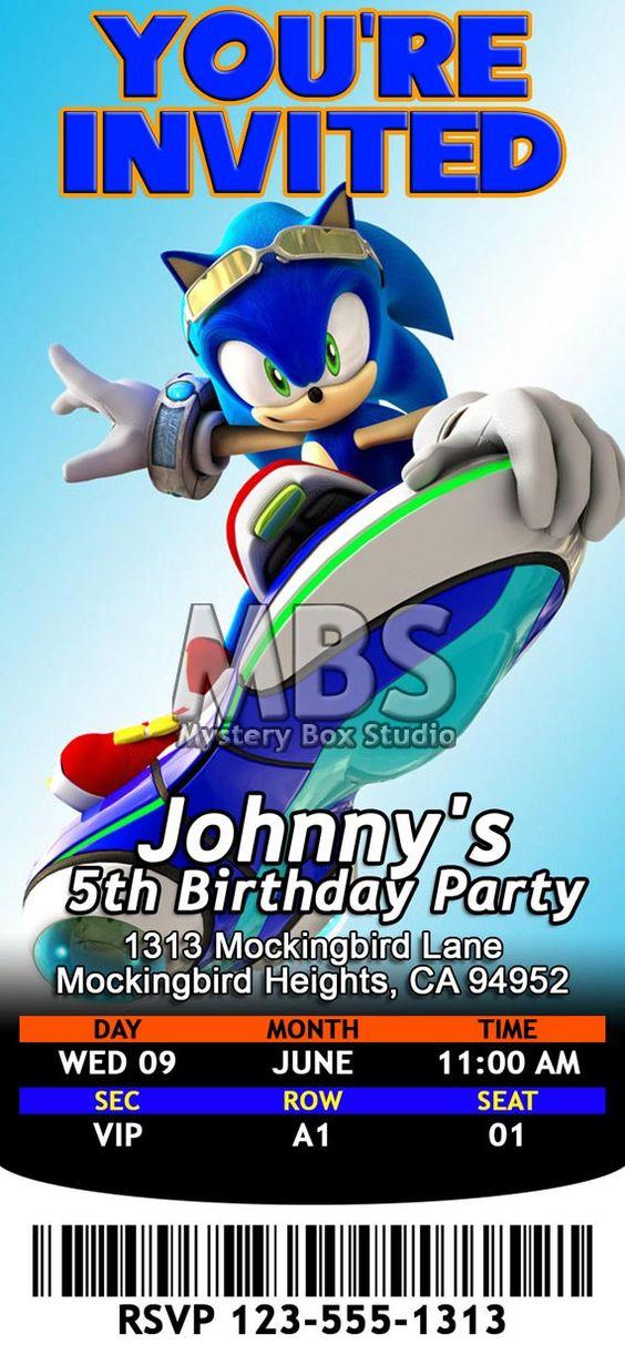 Sonic The Hedgehog Themed Birthday Invitations par MysteryBoxStudio