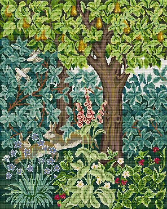 NeedlepointUS - encaje de aguja de clase mundial - Beth Russell encaje de aguja - Henry Dearle El verde Colección - Hare Firescreen / Imagen / colgante - Kit, kits del encaje de aguja, DF0099K
