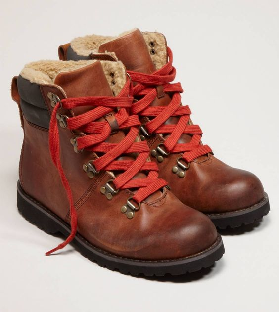 Red Lace Boots And Hiking Boots On Pinterest