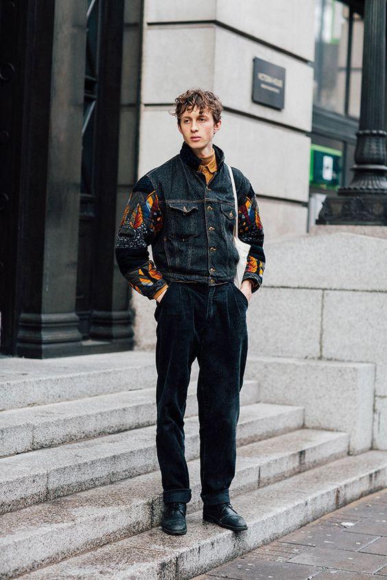 ⑤黒パンツ×ジージャン×シャツ