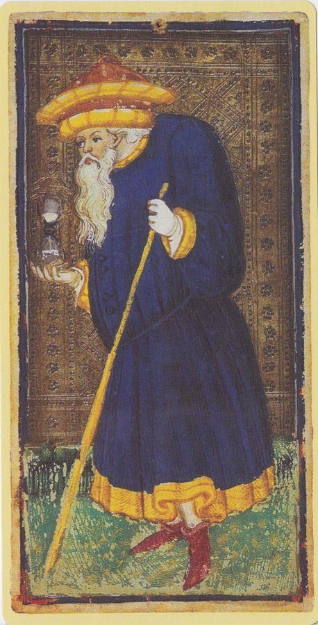The Hermit -- Pierpont Morgan Visconti Sforza Tarocchi Deck, Italy, Milan, ca. 1450: