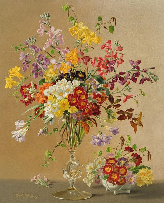 Albert Williams (1922-2010) — Freesias and Primroses (728x900):