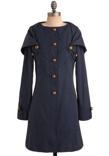 Manteau long, col marin qui peut se fermer