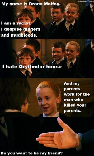 err.... no? =D.: My Friend, Potter Funny, Mischief Managed, Harrypotter, Harry Potter Funnies, Potter Sequel, Draco Malfoy, Funny Harry Potter
